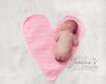 Crochet NEWBORN Heart Mat Photography Prop Valentines Day