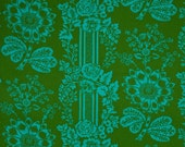 LAMINATED cotton fabric yardage - Candice green Happy Land Paganelli Sis Boom (aka oilcloth, coated vinyl fabric) WIDE BPA free