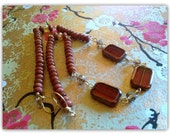 Sun stone &  Chech glass. Jewelry set. Necklace. Earrings.