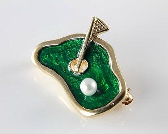 14K gold Golf Brooch jewelry, Solid Gold Vintage Golfer Golfing gift, Green Enamel Pearl, Man cave