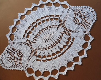 New oval hand crochet doily - tablecloth - lace - runner -white