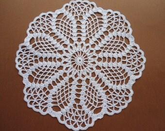 Round crochet doily  white