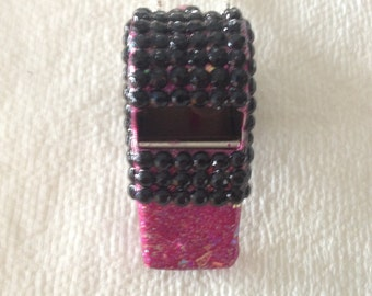 Black on Pink Rhinestone Covered Whistle Necklace