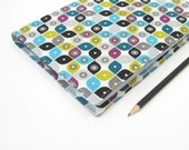 A5 2014 Diary, retro turquoise lime grey black purple, fabric covered A5 notebook, Day planner 2014