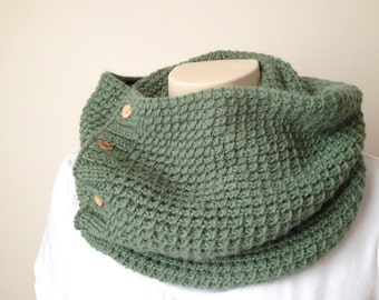Knitting Pattern Scarf, Knitting Pattern Cowl, Infinity Scarf, Green Alpaca