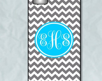 Personalized iPhone 6 - iPhone 4/4S 5/5S 5C Case - Gray Chevron with Sky Blue Monogram - Plastic, Rubber or Tough Case