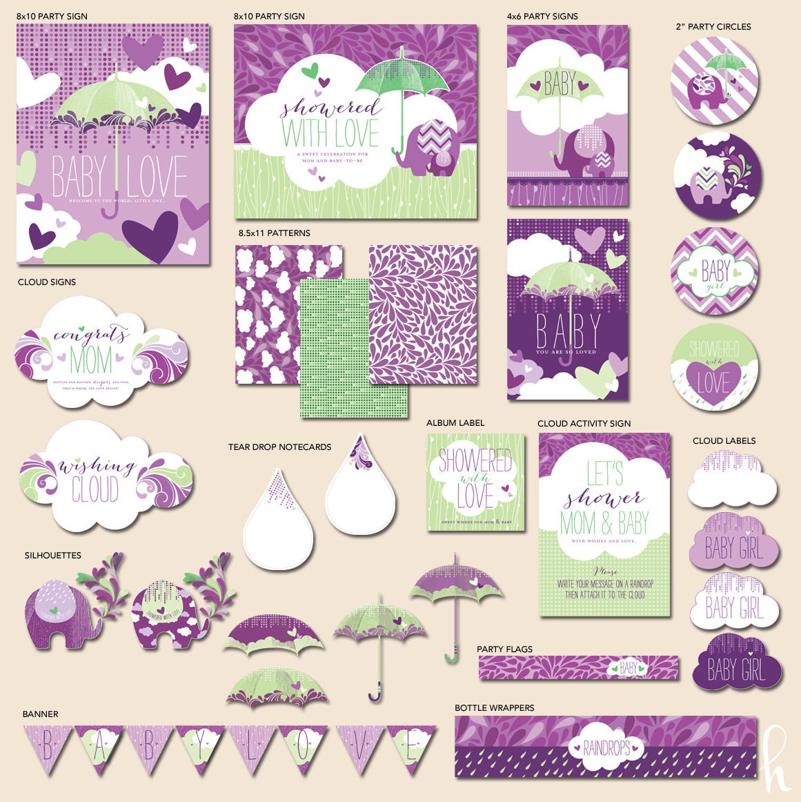 Purple Bridal Shower Clip Art Instant download - showered