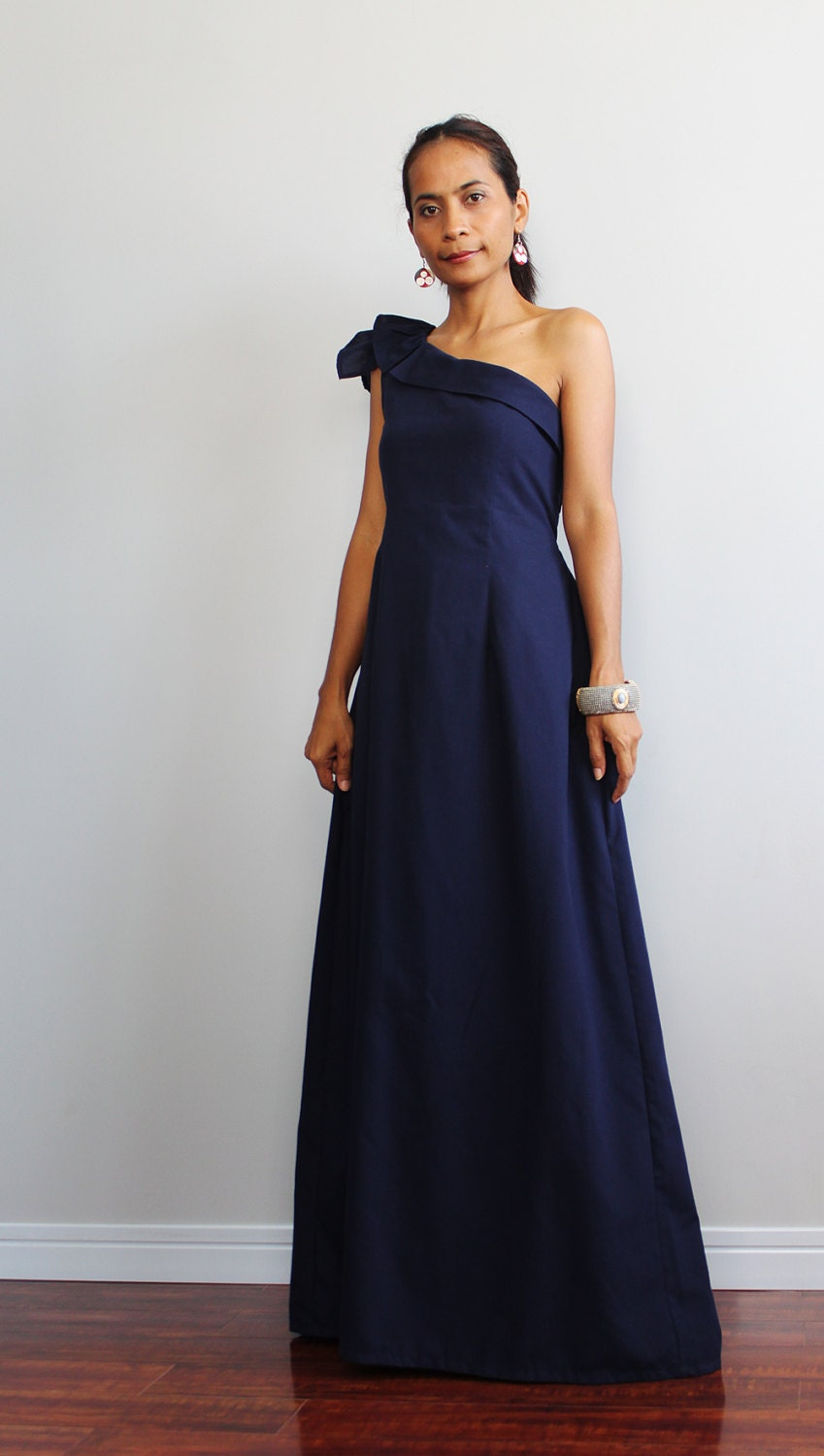 Navy blue maxi dress one shoulder bridesmaid dress by for Navy blue maxi dress for wedding