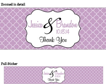 50 Personalized Glossy WATERPROOF Wedding Water Bottle Labels - many designs to choose from - change designs to any color or wording WW-020