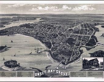 1885 View ONSET Bay Grove, Wareham, Massachusetts, antique decor, PRINT