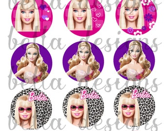 "INSTANT DOWNLOAD Barbie Inspired Digital Image Sheet 1"" Circles 4x6 Digital Collage-Bottle Cap Image Sheet-Bows-Pendants-Badge Reel"