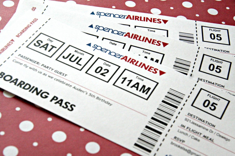 Airplane Ticket Invitation Printable Birthday by shoplemondrops