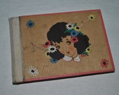 Antique 1950 Japanese Hand Painted Wood Bound Handwritten Diary / Journal