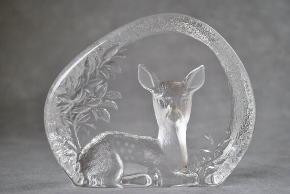 1983 Mats Jonasson Art Glass Deer Sculpture - Paperweight