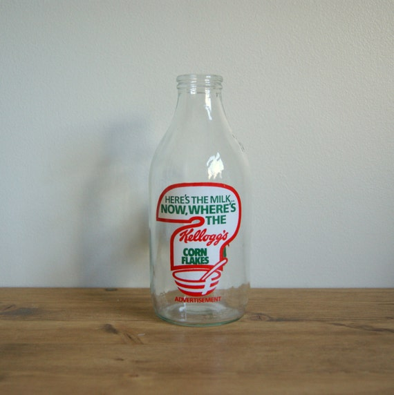 Kelloggs corn flakes advertisment vintage retro milk bottle