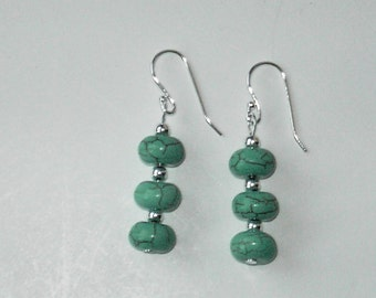 Turquoise 925 sterling silver earrings (# 593)