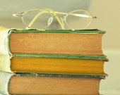 Books Vintage Still Life Photography  GlassesGreen Decor Yellow AquaLuster 8x10 Print