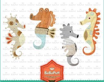 Instant Downloads, 12 Seahorse Clip Art, Personal and Small Commercial Use. BP 0733