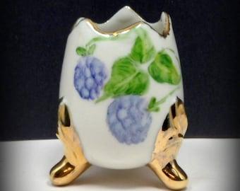 Sale Egg Vase Porcelain Lavender Blue Hand Painted Hydrangea Cracked Egg Vase Vintage C 1950s Easter Decor
