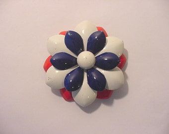 Vintage Red White And Blue  Metal Flower Brooch   179