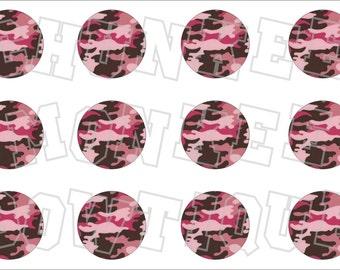 Pink and Brown Camo bottlecap image sheet
