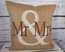 Mr & Mrs burlap personalized pillow cover in vintage white and chocolate brown - Pillow Insert Sold Separately