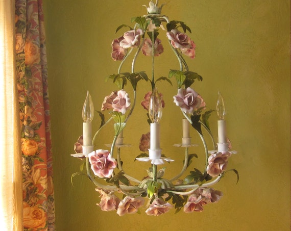 Vintage Chandelier Tole With Pink Roses