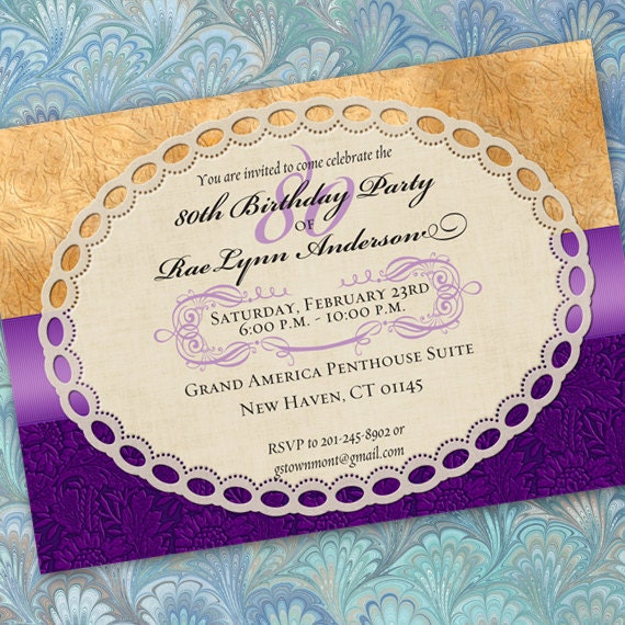 80th birthday party, 50th birthday party, retirement party invitations, purple  invitations, hyacinth and canary wedding, hyacinth bride