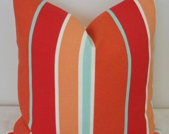 Aqua Coral & Orange Stripe Pillow Cushion Cover Coral Porch Decorative Pillow Cover 18x18