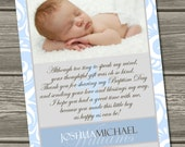 Baptism Thank You Card, Christening Thank You Card (Digital File) I Design, You Print