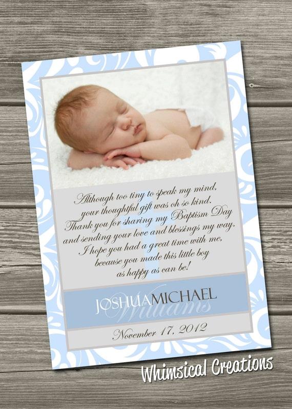 Biglietto di ringraziamento di battesimo battesimo di