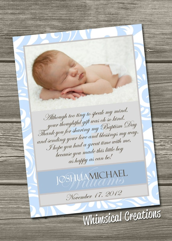 Baptism Thank You Card, Christening Thank You Card (Digital File) I ...