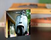 Bamboo Block, wall art, living room, print, scooter, moped, motorcycle, urban, transportation, blue, wheels, car, light, photography, summer