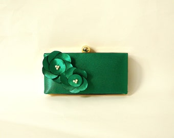 Romantic Clutch Purse with Handmade Flower Adornment and Pearls- Emerald Green