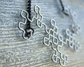 Fractal Necklace - Dragon Curve in Antiqued Silver