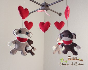 Baby Mobile - Baby Crib Mobile - Sock Monkey and Hearts - Nursery Decor Mobile (You Can Pick Your Colors)