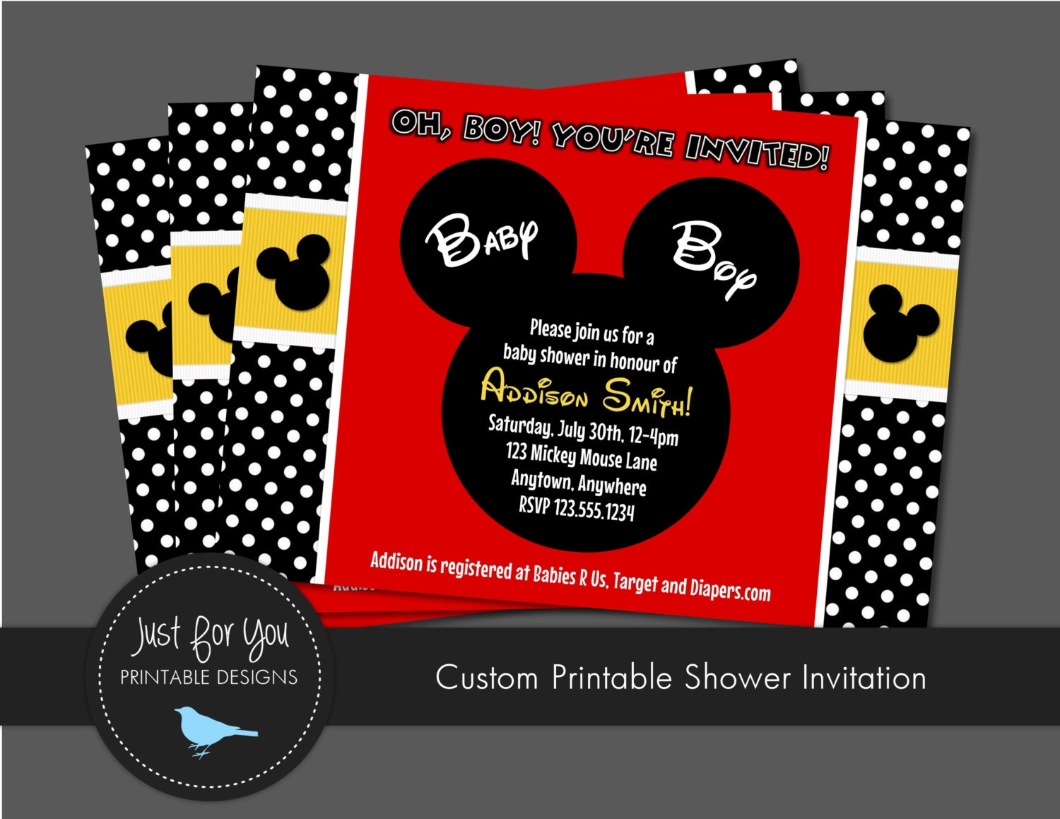 Mickey Mouse Baby Shower Invitation Boy by 4UPrintableDesigns