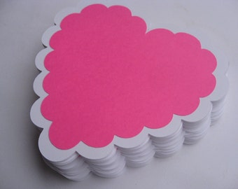 20 Scalloped Hearts. 5 Inch. CHOOSE YOUR COLORS. Layered Tag, Escort Cards, Wedding, Wishing Tree. Custom Orders Welcome.