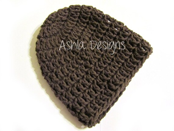 Brown Taupe 100% Cotton Newborn 0 to 3 Months Crochet Baby Hat Crocheted