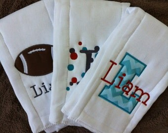 Set of 3 Personalized Burp Cloths - Diaper Cloths - Baby Boy - Monogrammed - Gift Set