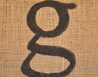 Burlap Letter g on Wood - 7x11