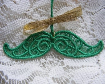 Green Lace Mustache, Christmas, St. Patrick's Day