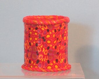 Medium pencil holder polymer clay enhanced