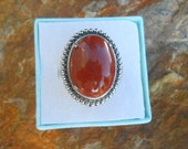 Ladies sz 7 Sterling Silver Natural Gemstone Southwestern Style ring Signed