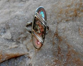 Ladies sz 7 stunning multi colored abalone inlay with Sterling Silver ring Signed Hopi American Indian