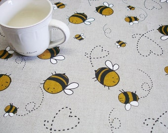 Tablecloth With Bees, Round Tablecloth, Eco Friendly, Custom Size 25x50,  40x40,