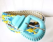 Vintage 1980's Braided pleather Colorful Turquoise and Yellow Belt