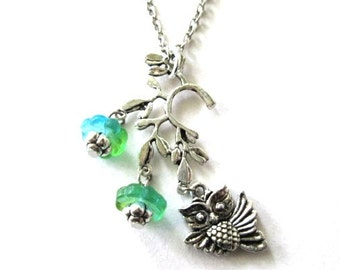 Owl necklace blue green flower jewelry branch necklace antiqued silver woodland jewelry