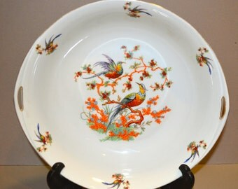 Vintage Bohemia Donatello Serving Bowl Birds of Paradise Czecho-Slowakia