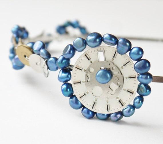 steampunk wedding tiara OOAK  - vintage watch parts blue freshwater pearl side tiara silver & gold bridal headband alice band